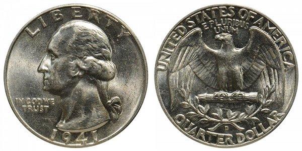 1941 D Washington Silver Quarter