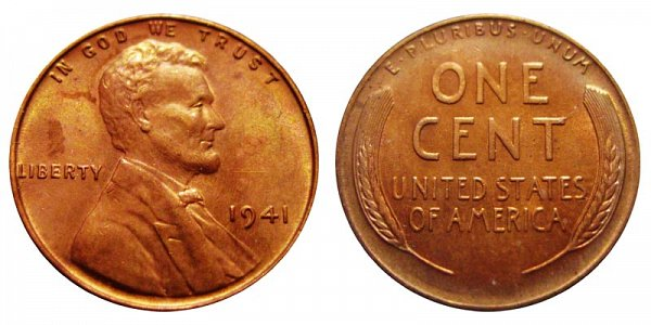 1941 Lincoln Wheat Cent Penny
