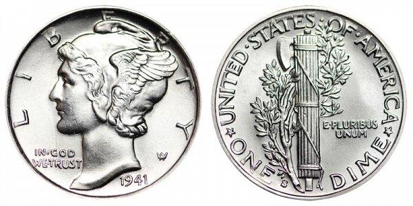 1941 S Silver Mercury Dime