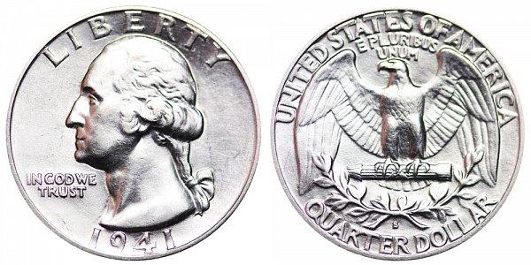 1941 S Washington Silver Quarter
