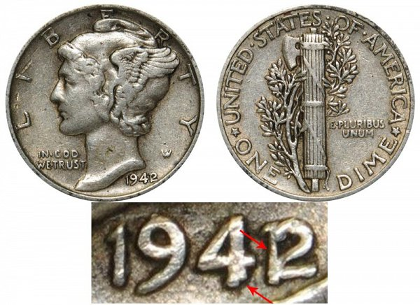 1942/1 42 Over 41 Silver Mercury Dime Overdate Error