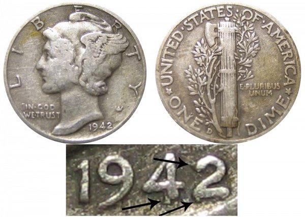 1942/1 D 42 Over 41 Silver Mercury Dime Overdate Error
