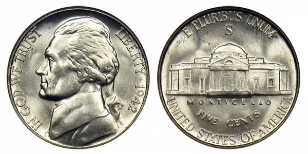 1942 S Wartime Jefferson Nickel - Silver War Nickel