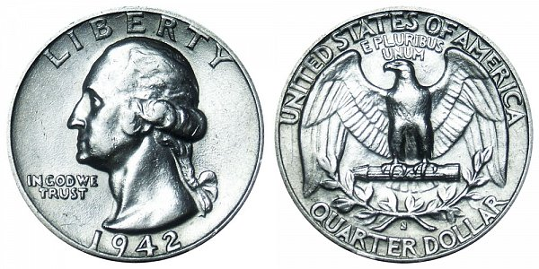 1942 S Washington Silver Quarter