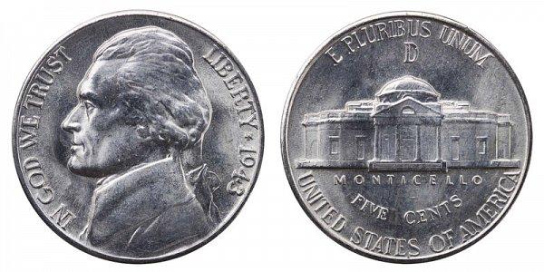 1943 D Wartime Jefferson Nickel - Silver War Nickel