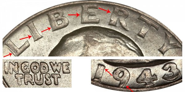 1943 Doubled Die Obverse (DDO) Washington Silver Quarter