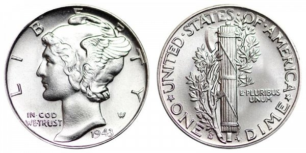1943 S Silver Mercury Dime