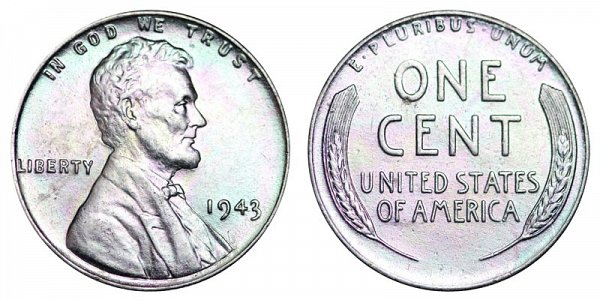1943 Steel Wartime Lincoln Wheat Cent Penny