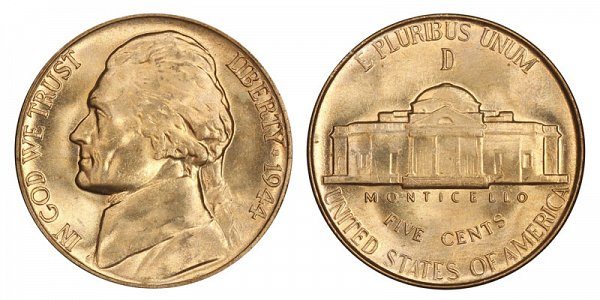 1944 D Wartime Jefferson Nickel - Silver War Nickel