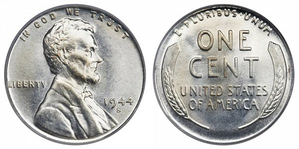 1944 S Steel Lincoln Wheat Cent Penny