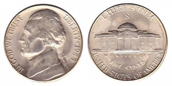 1944 S Wartime Jefferson Nickel - Silver War Nickel
