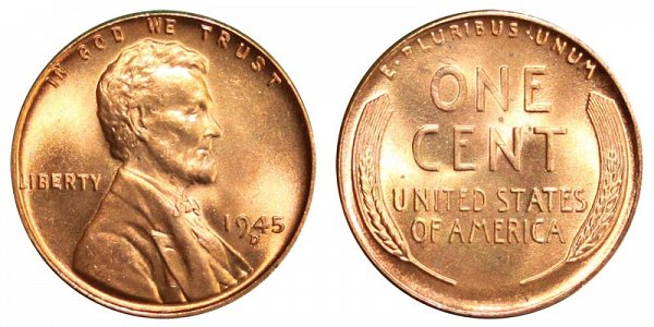 1945 D Lincoln Wheat Cent Penny