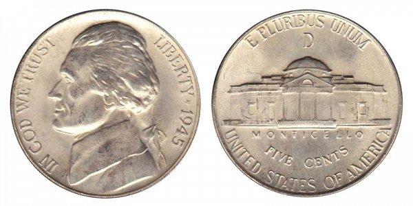 1945 D Wartime Jefferson Nickel - Silver War Nickel
