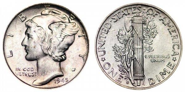 1945 Micro S Silver Mercury Dime
