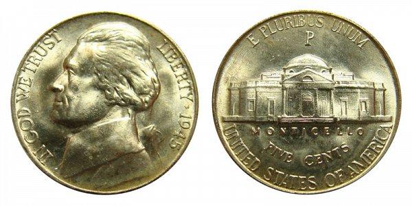 1945 P Wartime Jefferson Nickel - Silver War Nickel