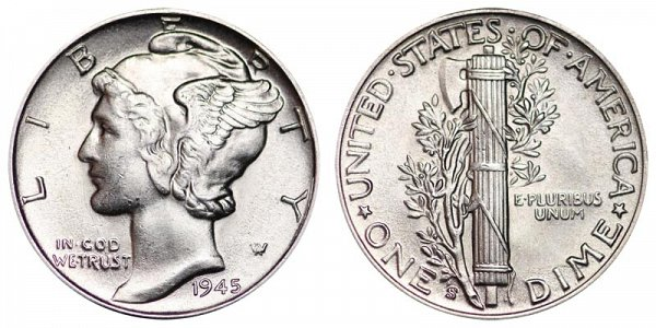 1945 S Silver Mercury Dime