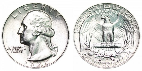 1945 S Washington Silver Quarter
