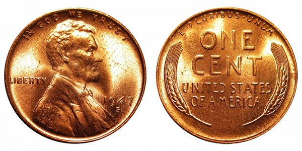 1947 S Lincoln Wheat Cent Penny