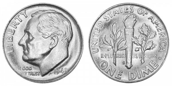 1948 S Silver Roosevelt Dime
