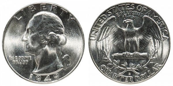 1949 D Washington Silver Quarter