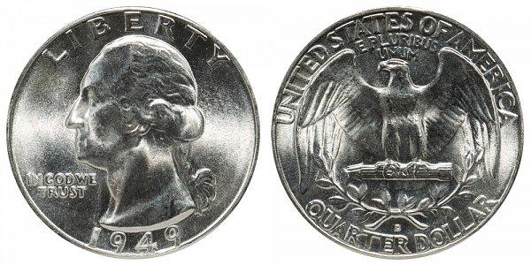 1949 D Washington Silver Quarter