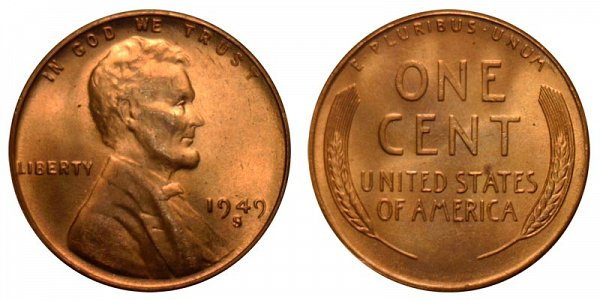 1949 S Lincoln Wheat Cent Penny