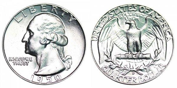 1950 D Washington Silver Quarter