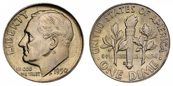 1950 S Silver Roosevelt Dime