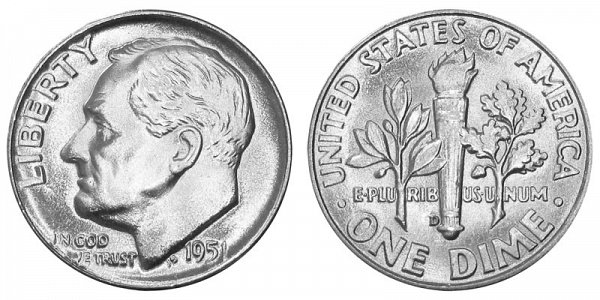 1951 D Silver Roosevelt Dime