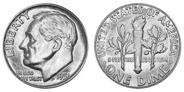 1951 Silver Roosevelt Dime