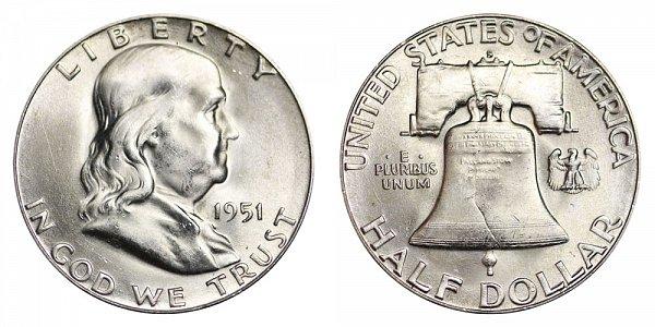 1951 S Franklin Silver Half Dollar