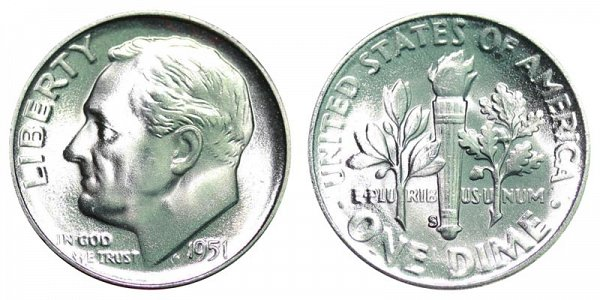 1951 S Silver Roosevelt Dime
