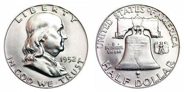 1952 D Franklin Silver Half Dollar