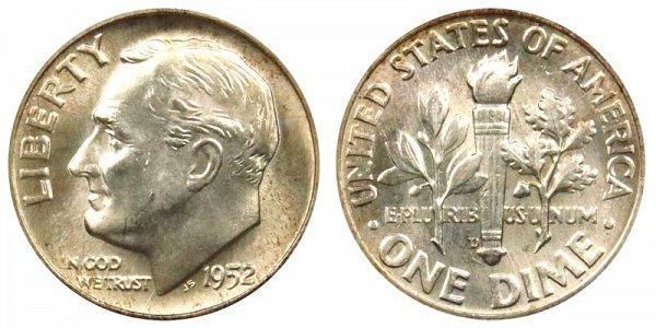1952 D Silver Roosevelt Dime