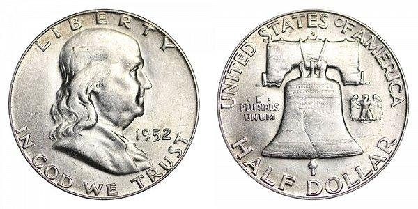 1952 S Franklin Silver Half Dollar