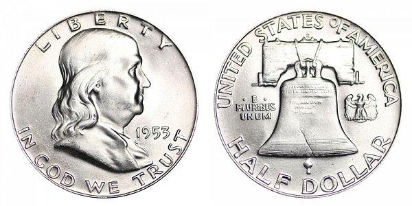 1953 D Franklin Silver Half Dollar