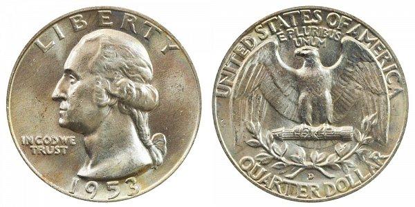 1953 D Washington Silver Quarter