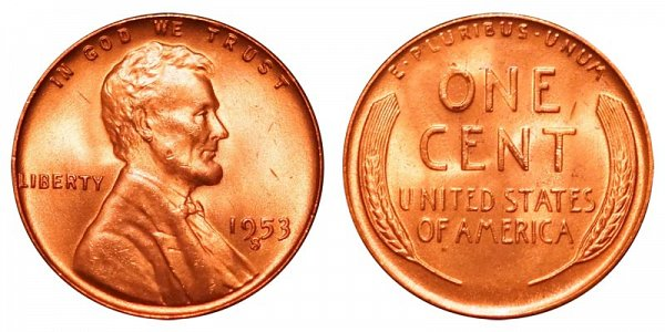 1953 S Lincoln Wheat Cent Penny