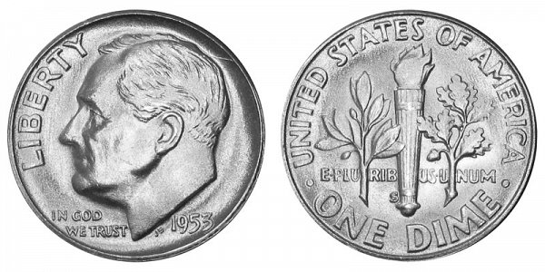 1953 S Silver Roosevelt Dime