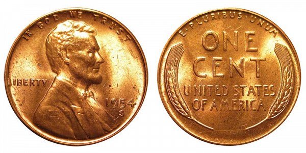 1954 S Lincoln Wheat Cent Penny