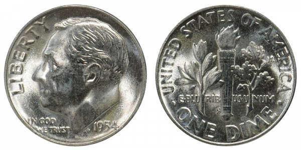 1954 S Silver Roosevelt Dime