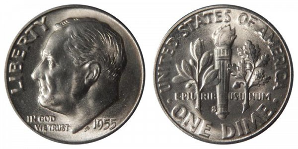 1955 S Silver Roosevelt Dime