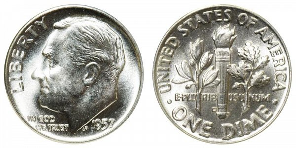 1957 D Silver Roosevelt Dime