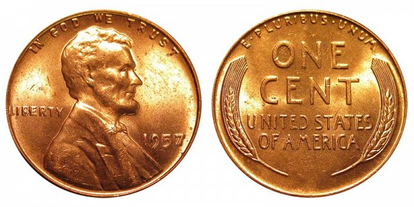 1957 Lincoln Wheat Cent Penny