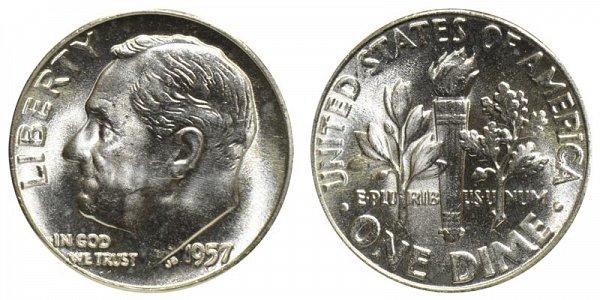 1957 Silver Roosevelt Dime