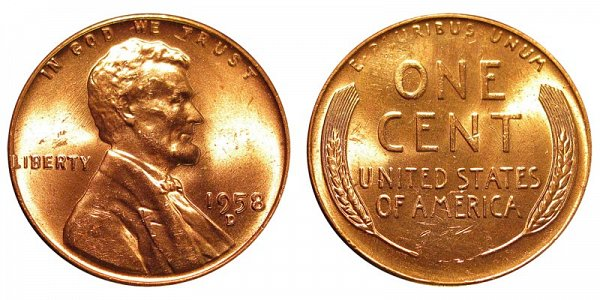 1958 D Lincoln Wheat Cent Penny
