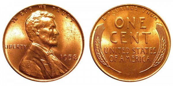 1958 Lincoln Wheat Cent Penny
