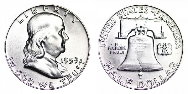 1959 D Franklin Silver Half Dollar