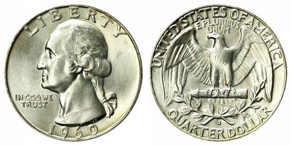 1960 D Washington Silver Quarter