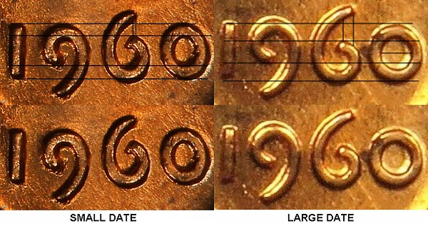 1960 lincoln cent penny - small date vs large date comparision